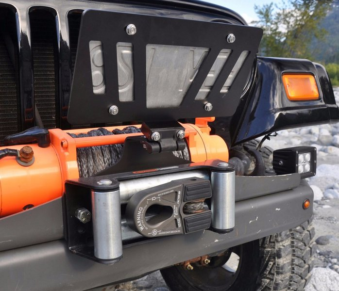 Jeep Truck Roller Fairlead Black License Plate Mount Bracket Universal